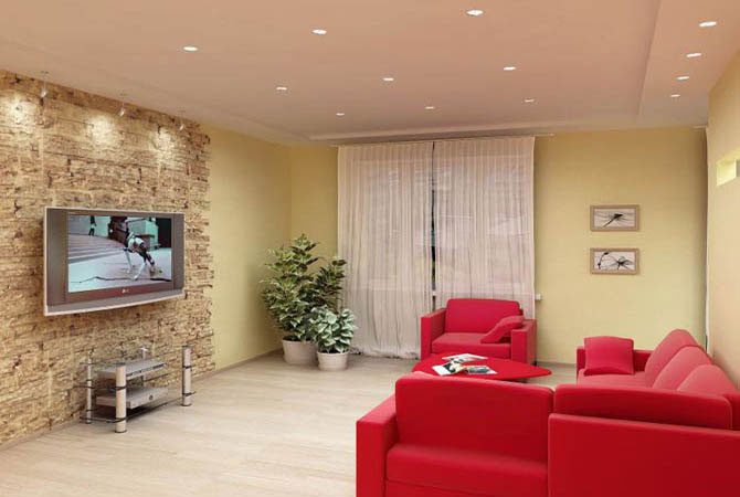 интерьер однокомнатной квартиры с мебелью венге
